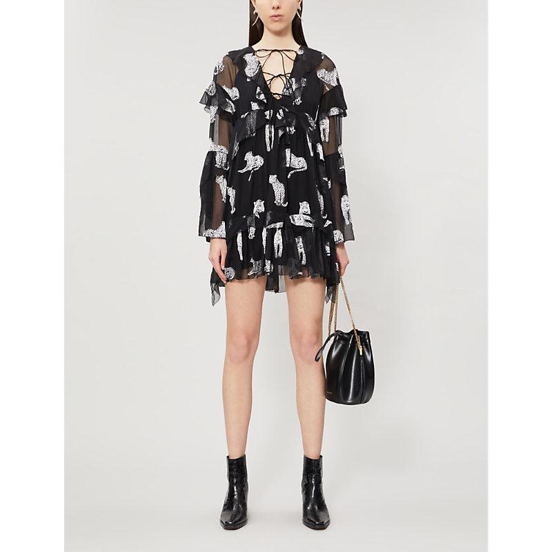 THE KOOPLES   Leopard Devoré Ruffled Mini Dress   Goxip