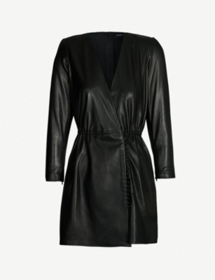 THE KOOPLES V-neck leather dress
