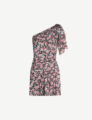THE KOOPLES Floral-print draped silk-blend mini dress