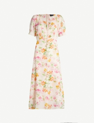 THE KOOPLES Floral-print button-front silk dress
