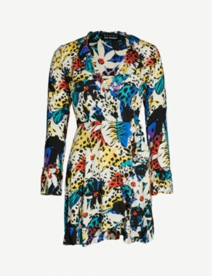 THE KOOPLES Printed ruffle trim woven wrap dress
