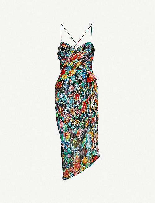 THE KOOPLES Metallic floral-pattern ruched silk-crepe wrap-over dress