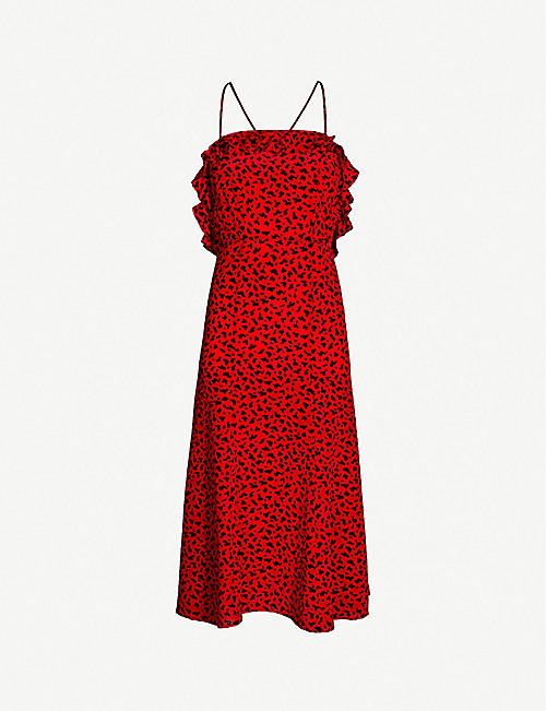 83da090766 THE KOOPLES Ruffle-trimmed leopard-print silk-crepe dress