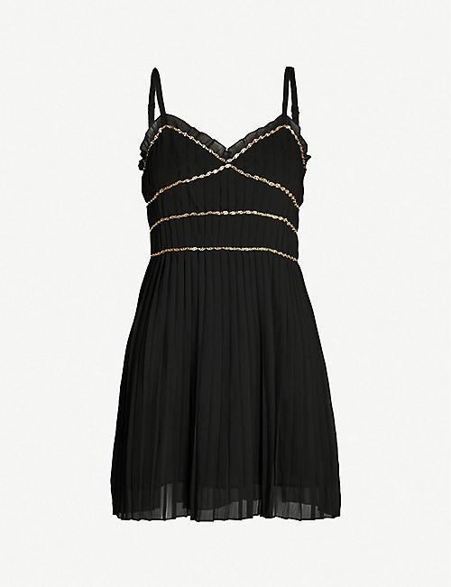 7c2da539cea5 THE KOOPLES Chain-embellished frilled woven mini dress