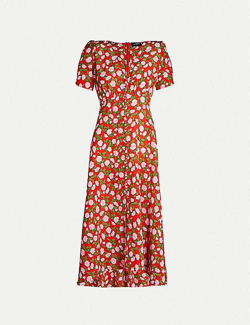 THE KOOPLES Floral-print buttoned-down silk midi dress