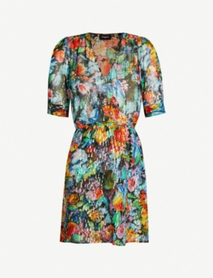THE KOOPLES Metallic and floral silk-chiffon wrap dress