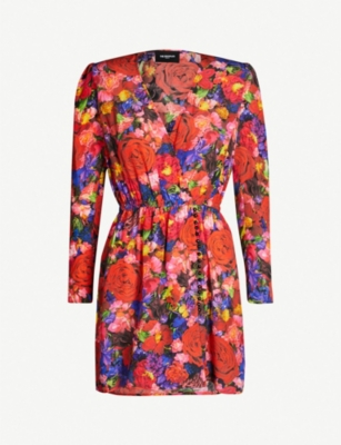 THE KOOPLES Floral-print frill-trimmed silk dress