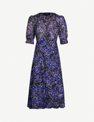 THE KOOPLES Floral-print wrap-over silk-georgette dress