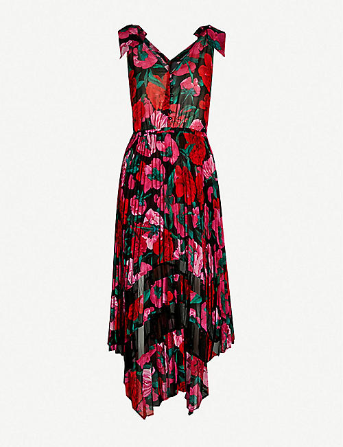 a6af62b33a15b1 THE KOOPLES Floral-patterned mesh-panel crepe pleated dress