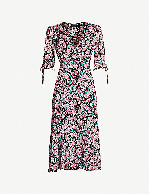THE KOOPLES Floral flared-cuff silk-georgette dress