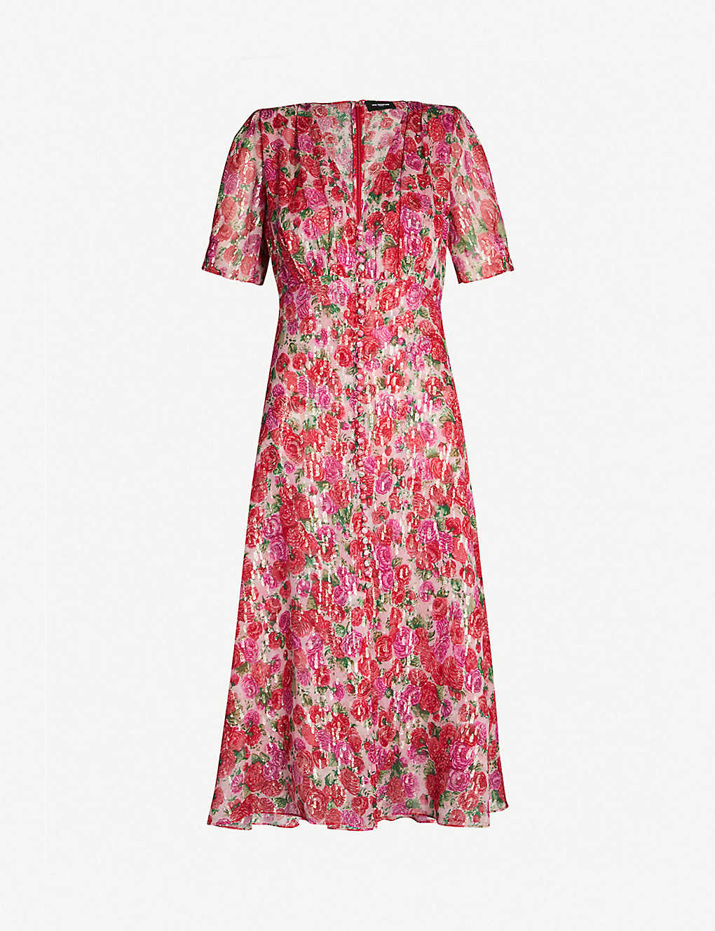 13d1977397 THE KOOPLES - Rose print short-sleeved silk midi dress | Selfridges.com