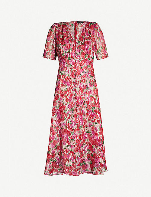 f497292242736a THE KOOPLES Rose print short-sleeved silk midi dress