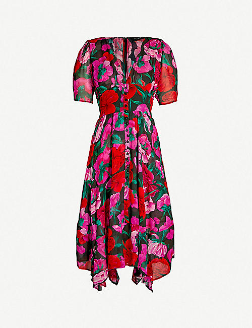 d12e58430aa8 THE KOOPLES Floral-patterned empire-waist silk-crepe dress