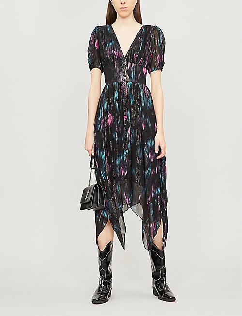 5eb6c74b146 THE KOOPLES V-neck abstract-print crepe midi dress