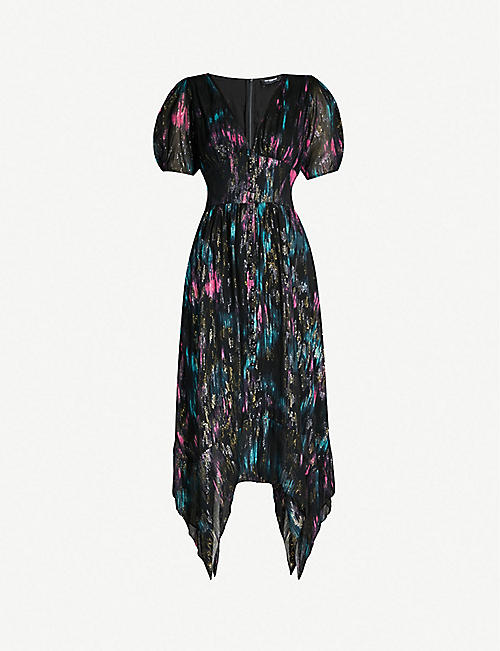 df1fa6addc08 THE KOOPLES V-neck abstract-print crepe midi dress