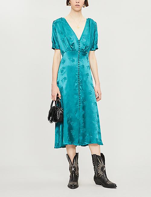 56b5ee3db9 THE KOOPLES Jacquard floral-patterned short-sleeved satin dress