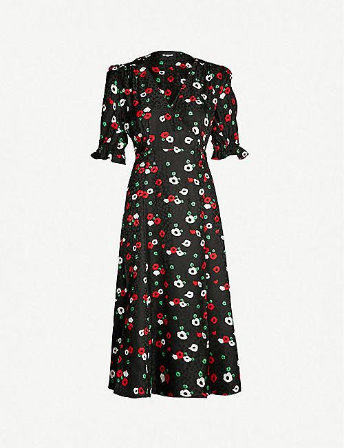 THE KOOPLES Floral-print wrap-over devoré dress 3f8bb91727e4