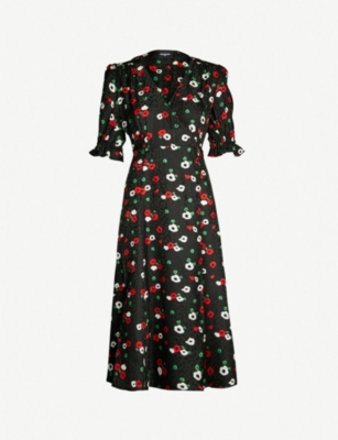 THE KOOPLES Floral-print wrap-over devoré dress