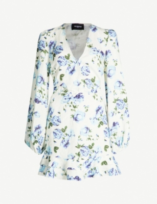THE KOOPLES Frill-trimmed floral-print linen dress