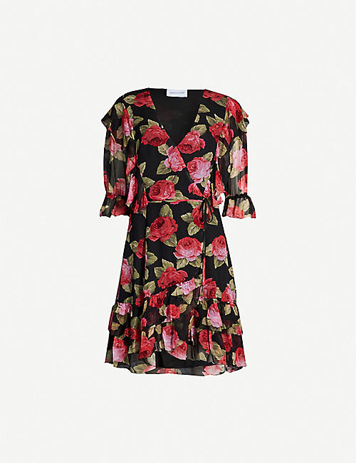 9ddeca2ff015 THE KOOPLES Floral-print V-neck chiffon wrap dress