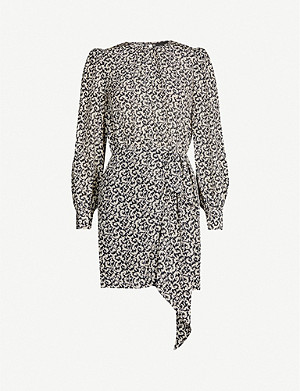 THE KOOPLES Filigree-print silk-crepe de chine mini dress