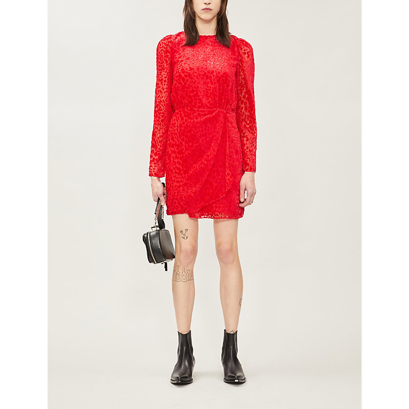 The Kooples Dresses WRAP-STYLE VELVET-JACQUARD MINI DRESS