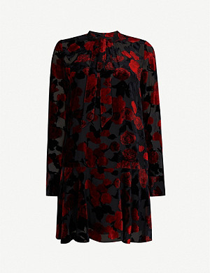 THE KOOPLES Floral velour-jacquard dress