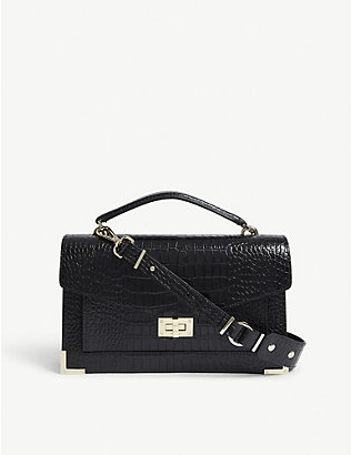 THE KOOPLES: Emily large croc-embossed leather cross-body bag
