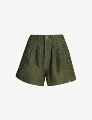 THE KOOPLES Military laced cotton shorts