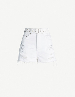 THE KOOPLES Mesh-underlay belted high-rise shorts