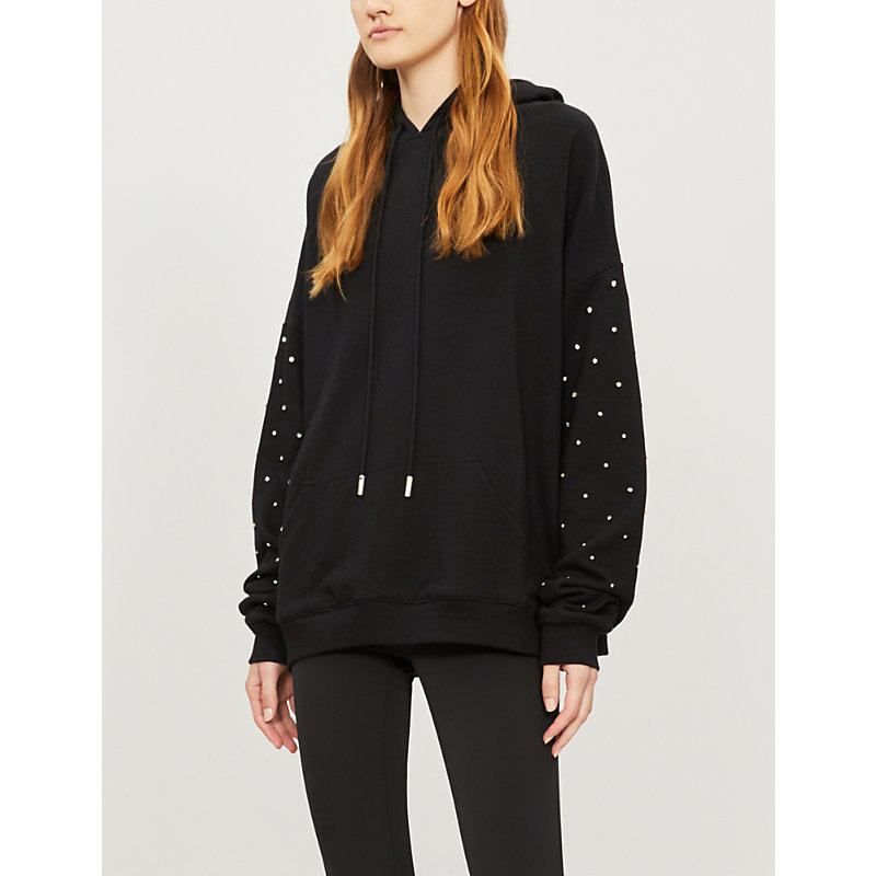 The Kooples RHINESTONE-EMBELLISHED COTTON-JERSEY HOODY