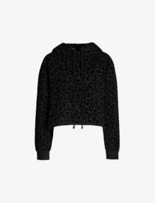 THE KOOPLES Leopard-print cropped cotton and velvet hoody