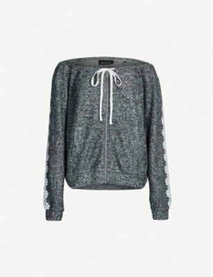 THE KOOPLES Lace-trim fleece sweatshirt