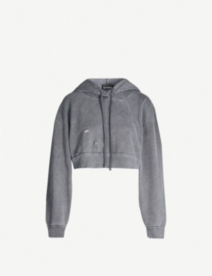 THE KOOPLES Fade Out cropped faded cotton hoody