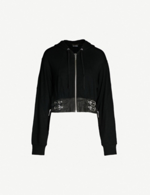 THE KOOPLES Buckled-waist cotton-blend jersey hoody