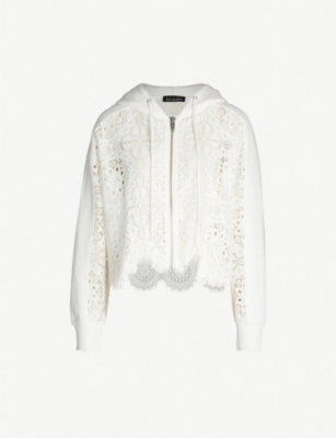 THE KOOPLES Lace zipped stretch-cotton hoodie