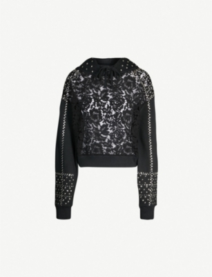 THE KOOPLES Lace and stud-detail cotton-jersey hoody