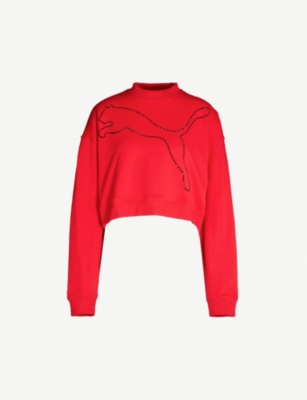 THE KOOPLES The Kooples Sport x PUMA diamanté-motif cotton sweatshirt