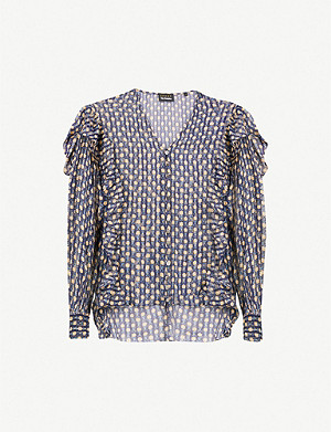 THE KOOPLES Ruffled floral-print silk-blend blouse