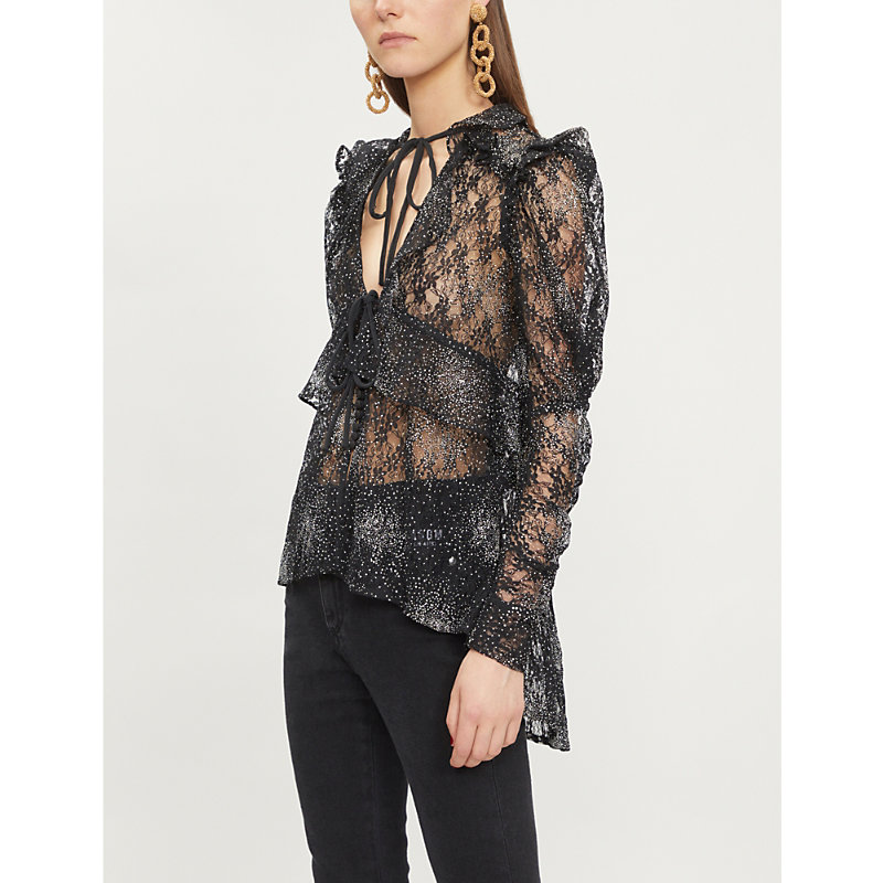 Floral-Embroidery Glitter-Embellished Lace Top, Bla01