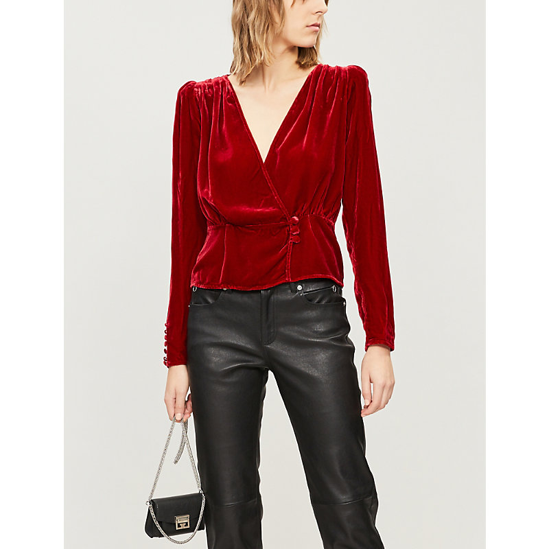 The Kooples BUTTONED RUCHED VELVET TOP