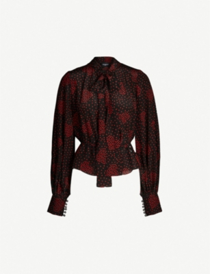 THE KOOPLES Heart-motif silk-blend blouse