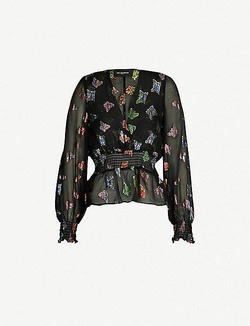 THE KOOPLES V-neck silk-blend georgette top 4a3ae4ecc8f4