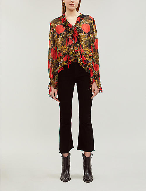 51220672e4 THE KOOPLES Animal and rose-print chiffon blouse