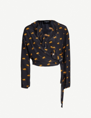 THE KOOPLES Horse-print silk-satin blouse