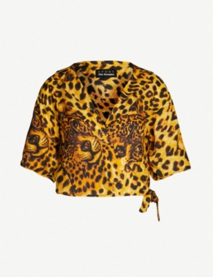 THE KOOPLES Ghost Leopard cropped crepe blouse