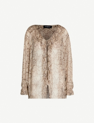 THE KOOPLES Frilled python-print woven blouse