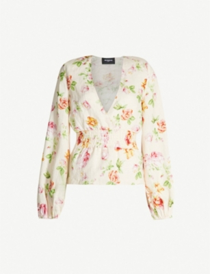 THE KOOPLES Floral-print linen blouse