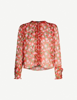 THE KOOPLES Frill-trimmed floral-print chiffon shirt