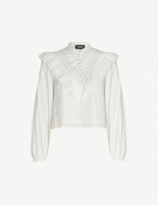 THE KOOPLES Frilled long-sleeved high-neck cotton top